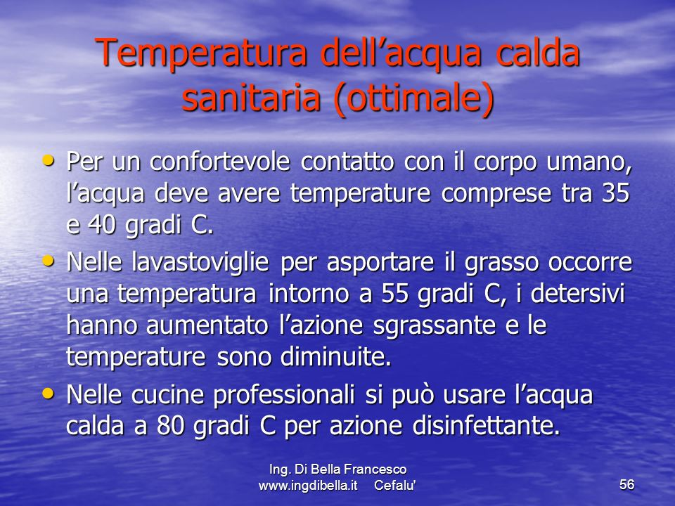 Temperatura dell'acqua calda sanitaria (ottimale)