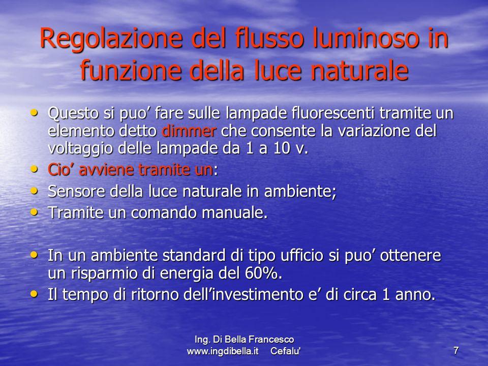 Regolazione del flusso luminoso in funzione della luce naturale
