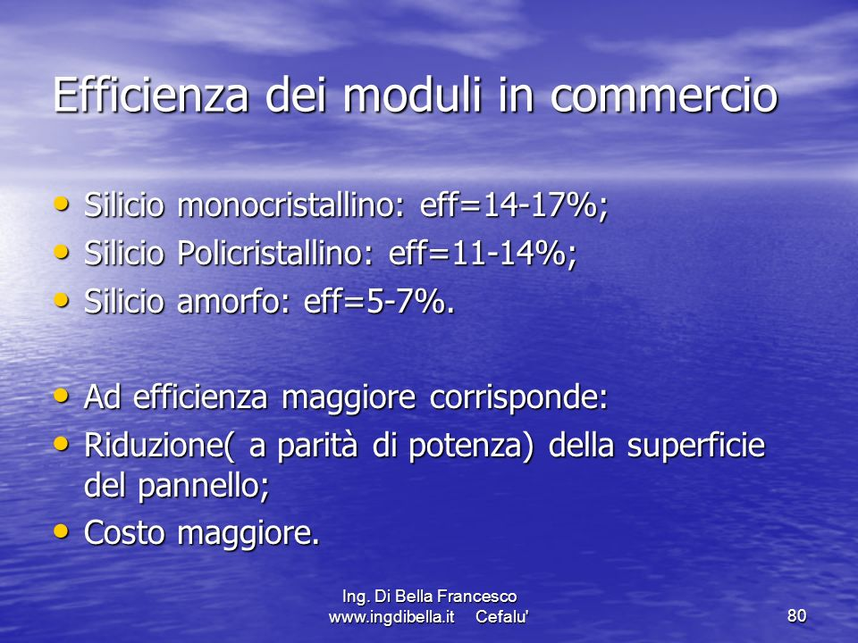 Efficienza dei moduli in commercio