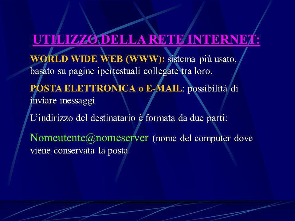 UTILIZZO DELLA RETE INTERNET: