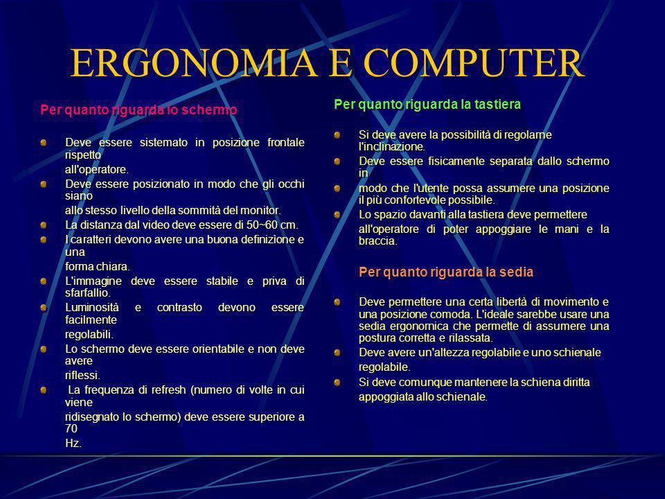 ERGONOMIA E COMPUTER Per quanto riguarda la tastiera