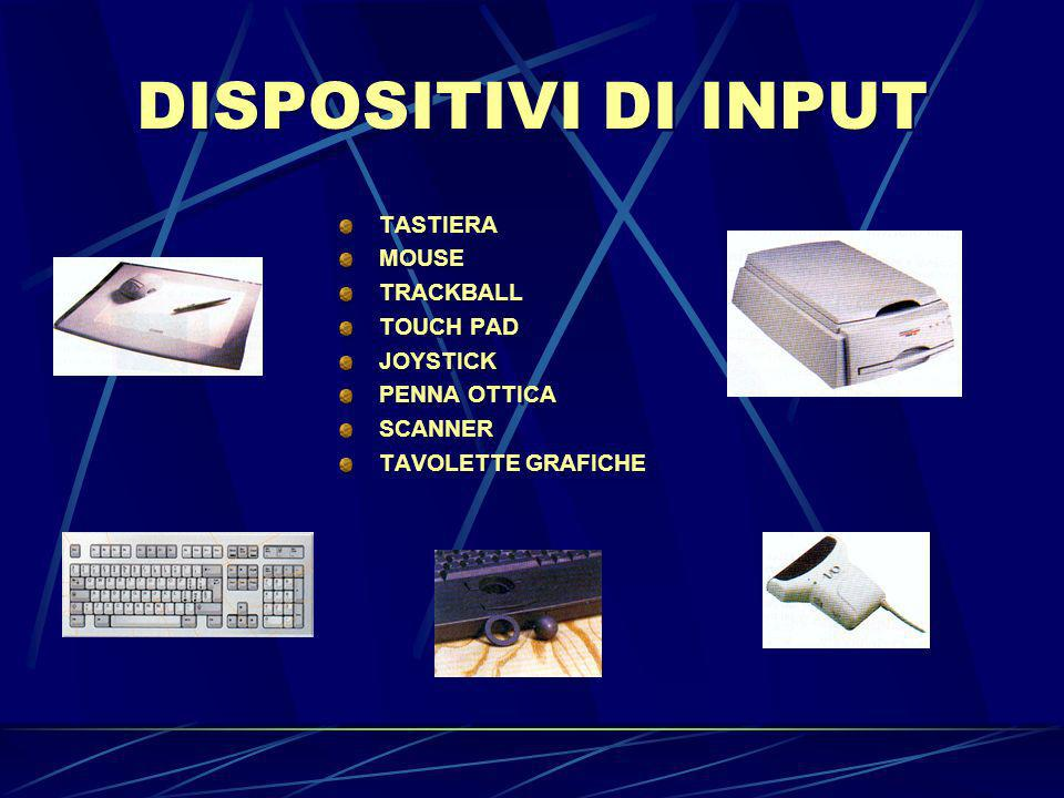 DISPOSITIVI DI INPUT TASTIERA MOUSE TRACKBALL TOUCH PAD JOYSTICK