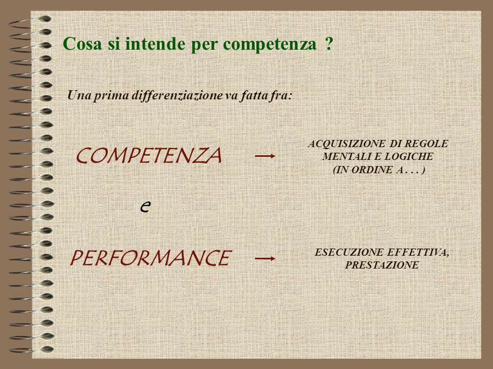 COMPETENZA e PERFORMANCE
