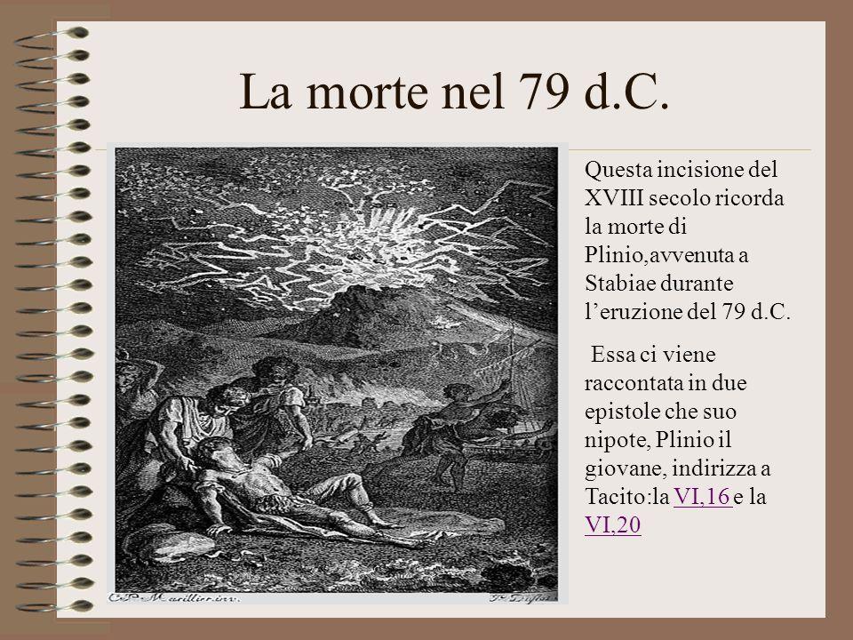 La morte nel 79 d.C. Questa incisione del XVIII secolo ricorda la morte di Plinio,avvenuta a Stabiae durante l'eruzione del 79 d.C.