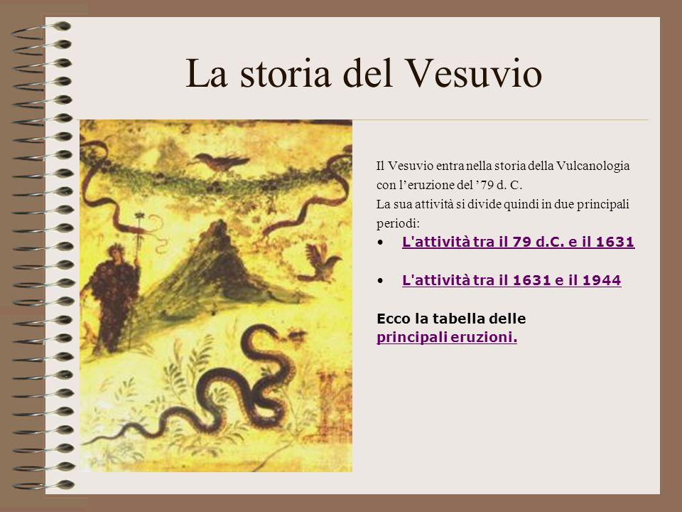 La storia del Vesuvio Il Vesuvio entra nella storia della Vulcanologia