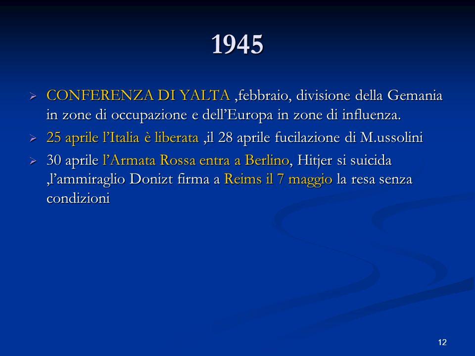 1945CONFERENZA DI YALTA ,febbraio, divisione della Gemania in zone di occupazione e dell'Europa in zone di influenza.