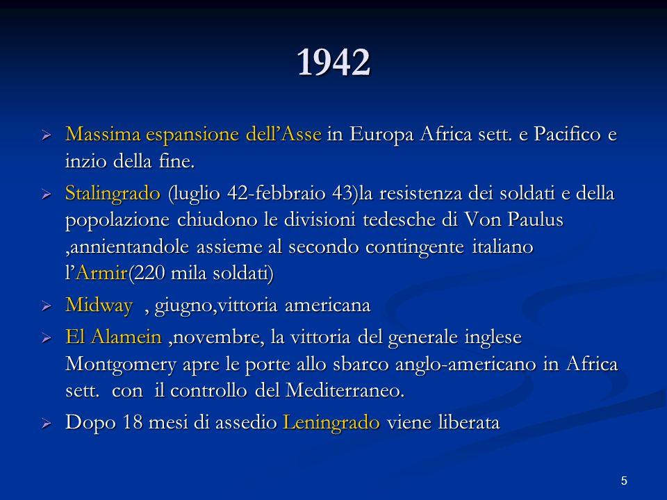 1942Massima espansione dell'Asse in Europa Africa sett. e Pacifico e inzio della fine.