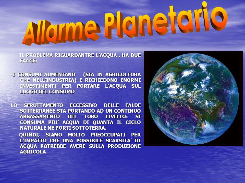 Allarme Planetario IL PROBLEMA RIGUARDANTRE L'ACQUA , HA DUE FACCE: