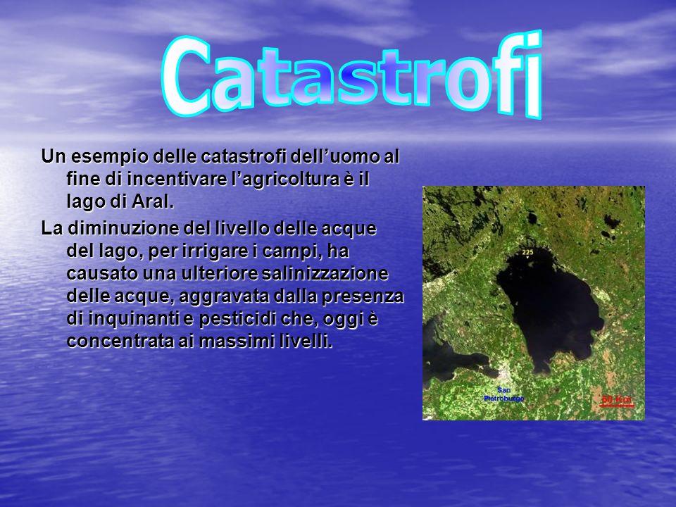Catastrofi Un esempio delle catastrofi dell'uomo al fine di incentivare l'agricoltura è il lago di Aral.