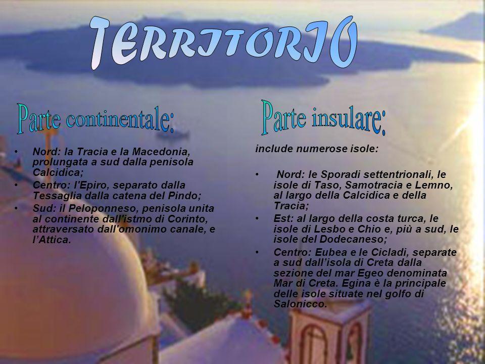 TERRITORIO Parte insulare: Parte continentale: include numerose isole: