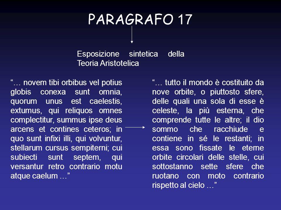 PARAGRAFO 17 Esposizione sintetica della Teoria Aristotelica