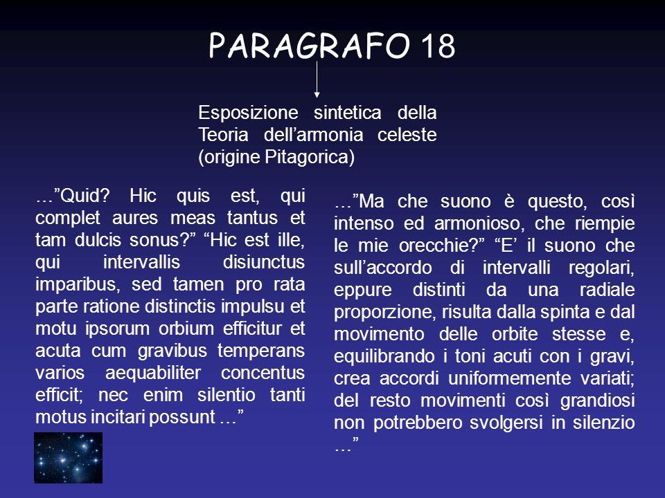 PARAGRAFO 18 Esposizione sintetica della Teoria dell'armonia celeste (origine Pitagorica)