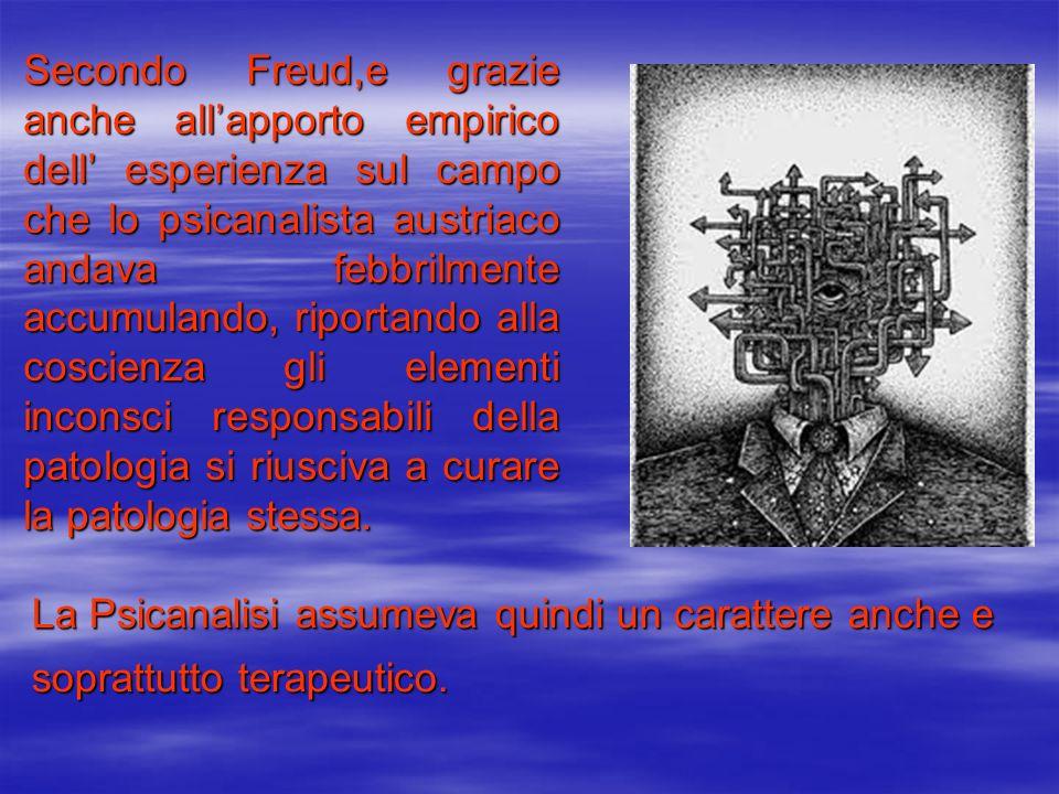 Secondo Freud,e grazie anche all'apporto empirico dell' esperienza sul campo che lo psicanalista austriaco andava febbrilmente accumulando, riportando alla coscienza gli elementi inconsci responsabili della patologia si riusciva a curare la patologia stessa.