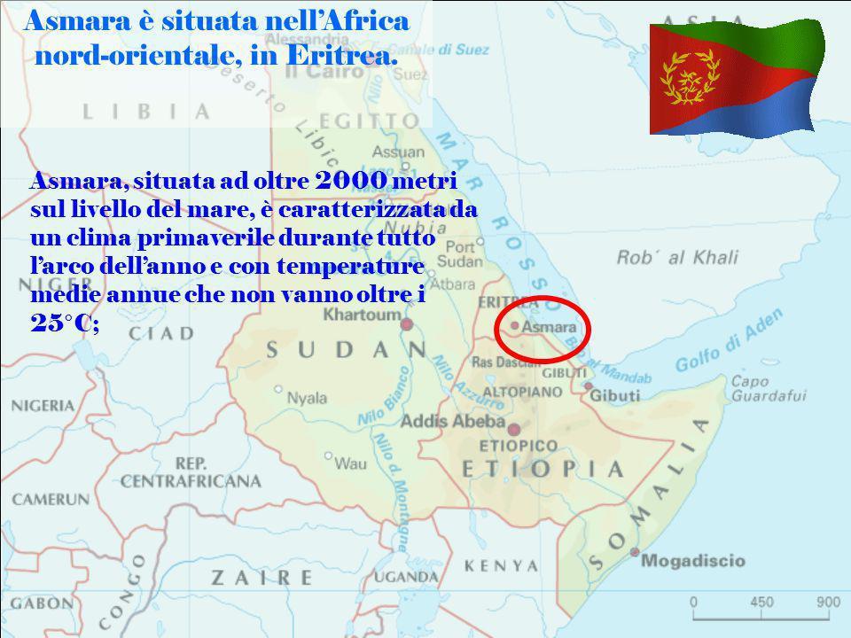 Asmara è situata nell'Africa nord-orientale, in Eritrea.