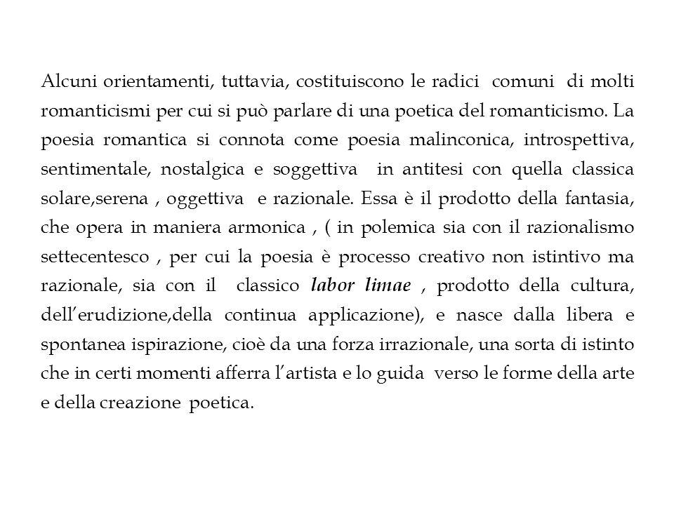 Alcuni orientamenti, tuttavia, costituiscono le radici comuni di molti romanticismi per cui si può parlare di una poetica del romanticismo.