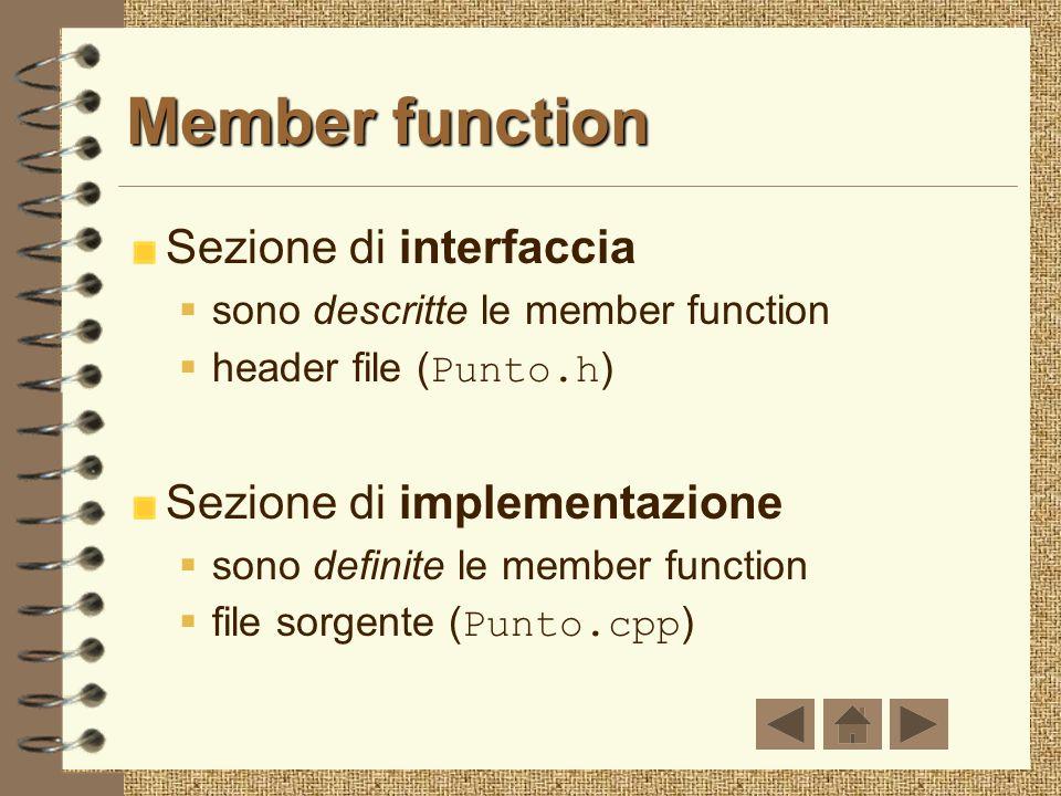 Member function Sezione di interfaccia Sezione di implementazione