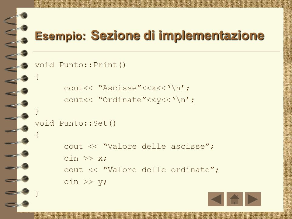 Esempio: Sezione di implementazione
