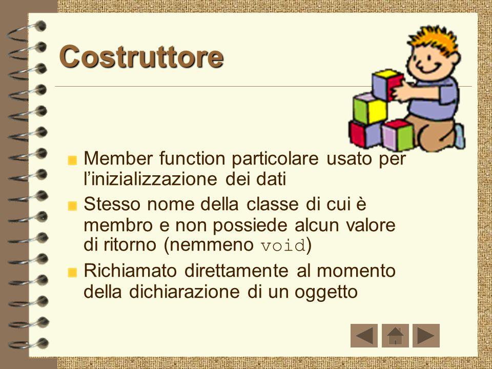 Costruttore Member function particolare usato per l'inizializzazione dei dati.