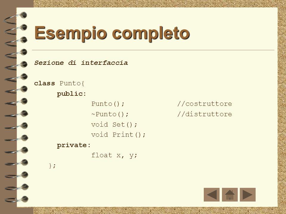 Esempio completo Sezione di interfaccia class Punto{ public: