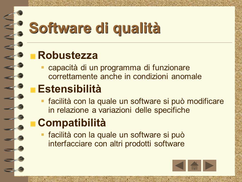 Software di qualità Robustezza Estensibilità Compatibilità