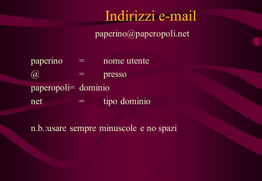 Indirizzi e-mail paperino@paperopoli.net paperino = nome utente
