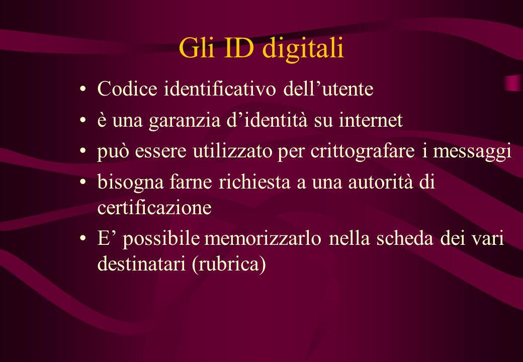 Gli ID digitali Codice identificativo dell'utente