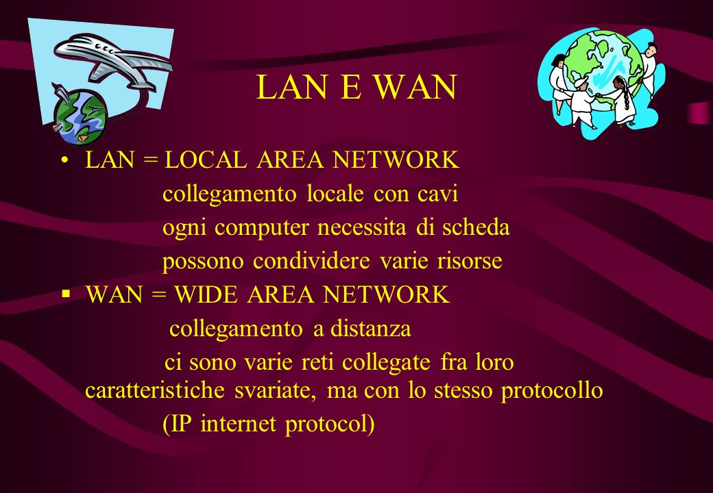 LAN E WAN LAN = LOCAL AREA NETWORK collegamento locale con cavi