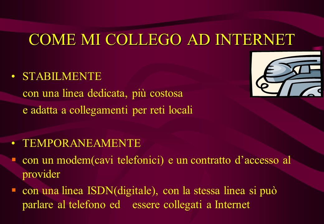 COME MI COLLEGO AD INTERNET