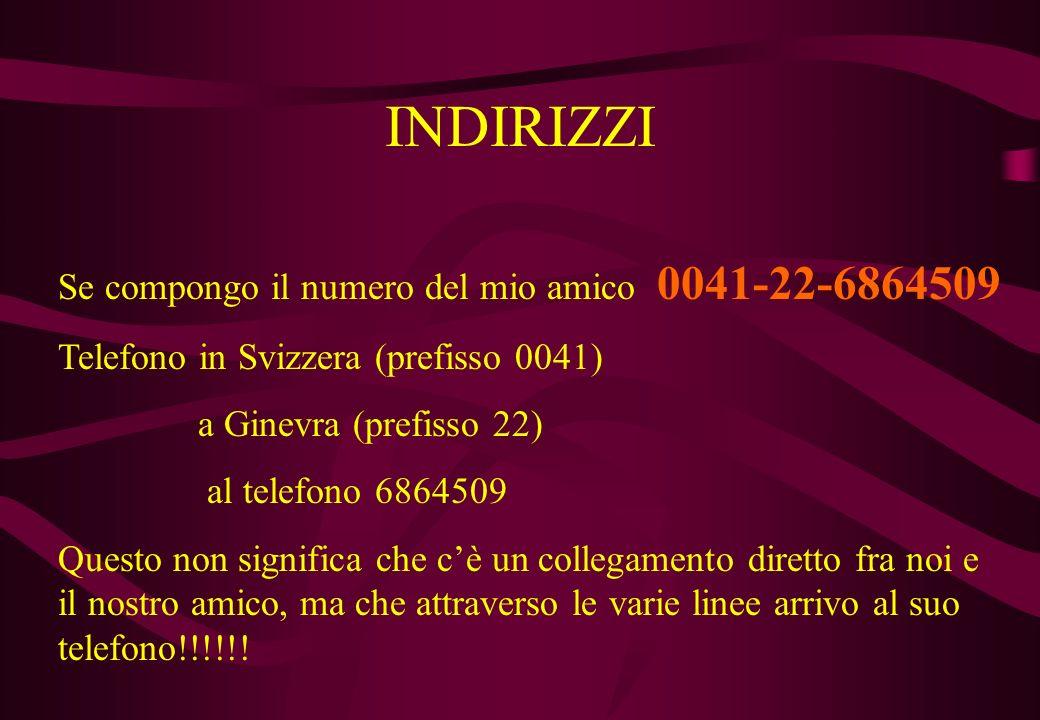 INDIRIZZI Se compongo il numero del mio amico 0041-22-6864509
