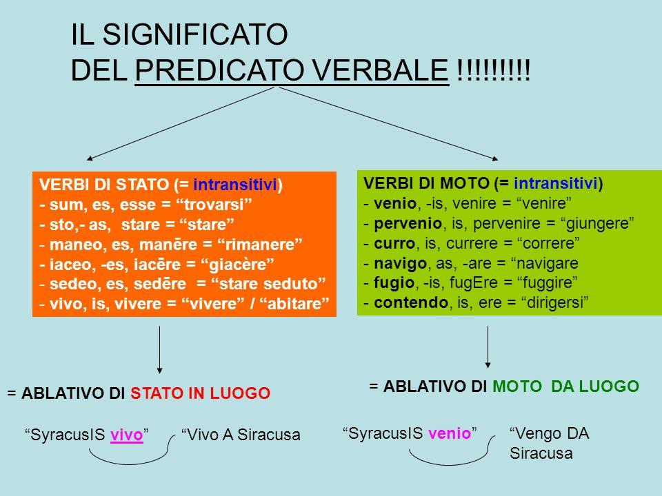 IL SIGNIFICATO DEL PREDICATO VERBALE !!!!!!!!!