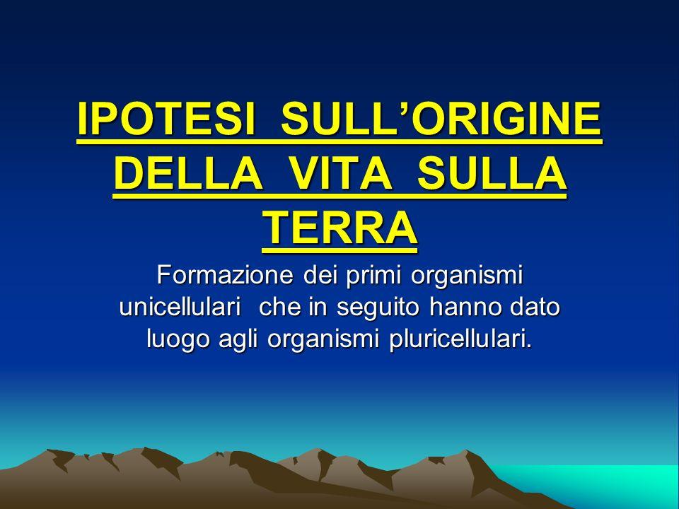 IPOTESI SULL'ORIGINE DELLA VITA SULLA TERRA
