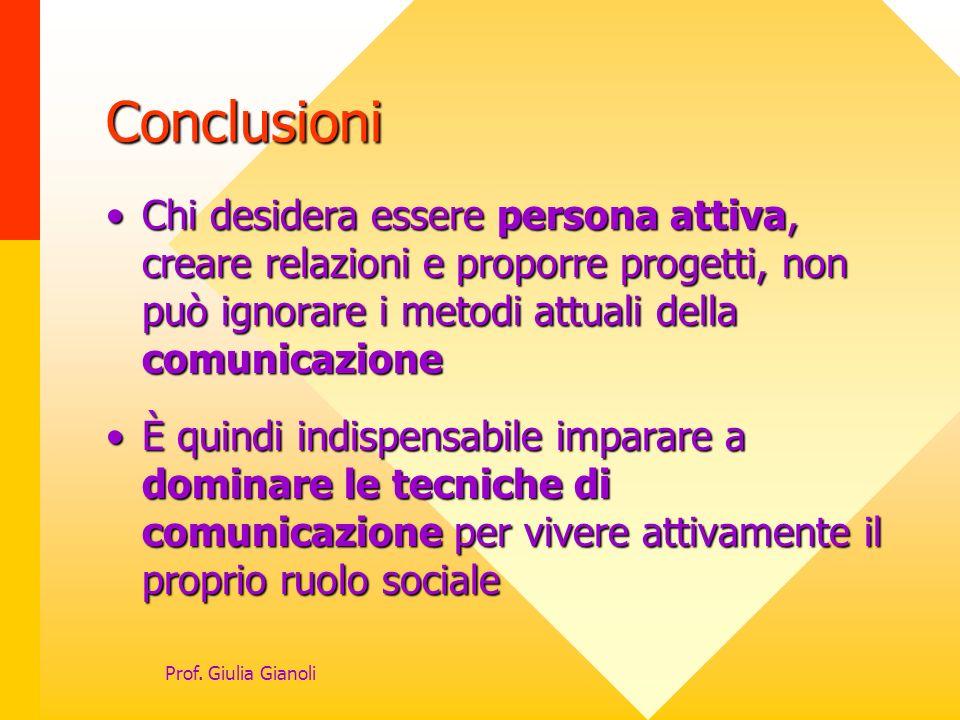 Conclusioni Chi desidera essere persona attiva, creare relazioni e proporre progetti, non può ignorare i metodi attuali della comunicazione.