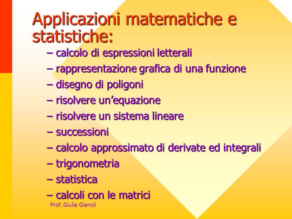 Applicazioni matematiche e statistiche: