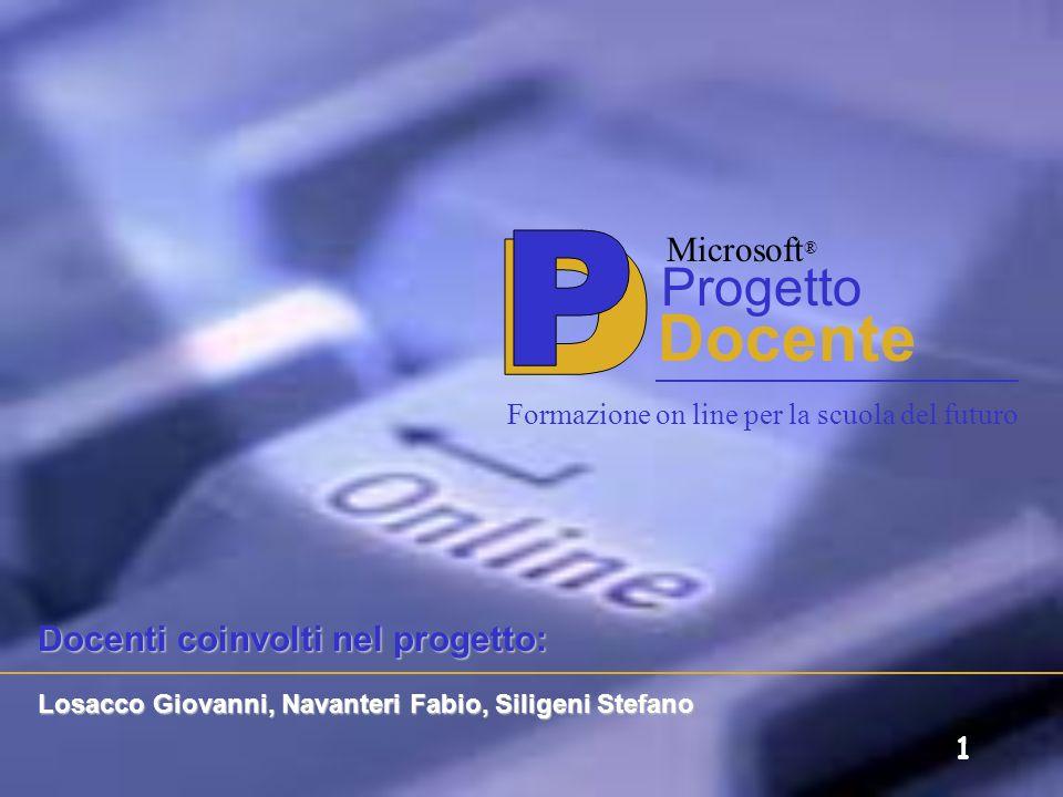 P D Docente Progetto Microsoft® Docenti coinvolti nel progetto: