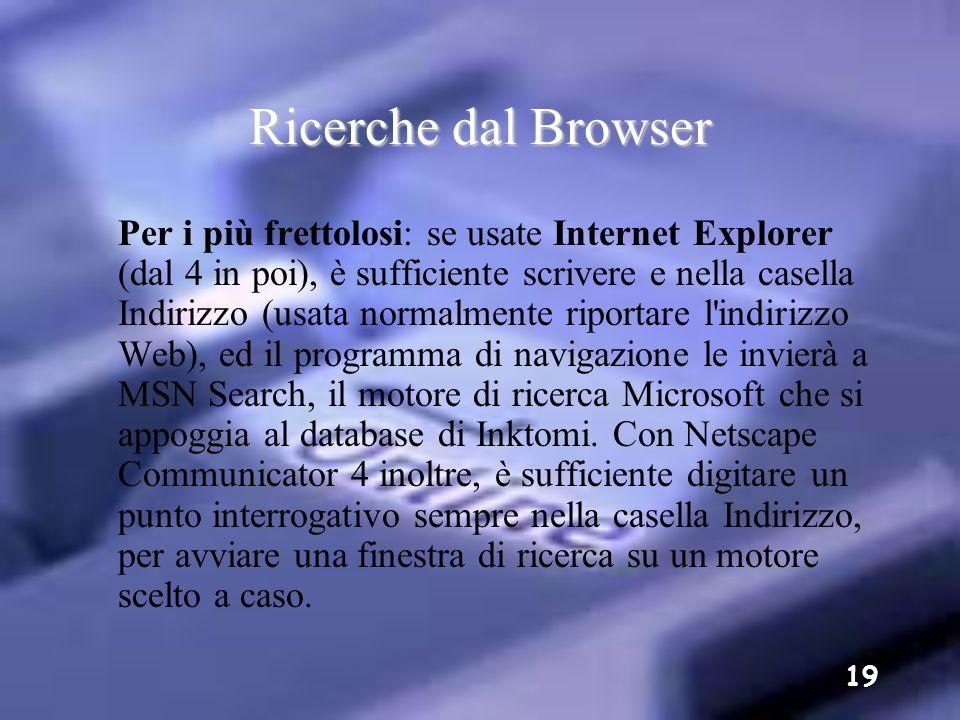Ricerche dal Browser