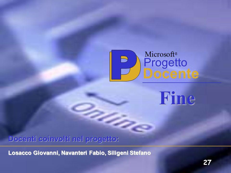 Fine P D Docente Progetto Microsoft® Docenti coinvolti nel progetto: