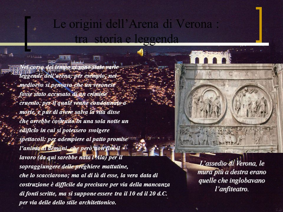 Le origini dell'Arena di Verona : tra storia e leggenda