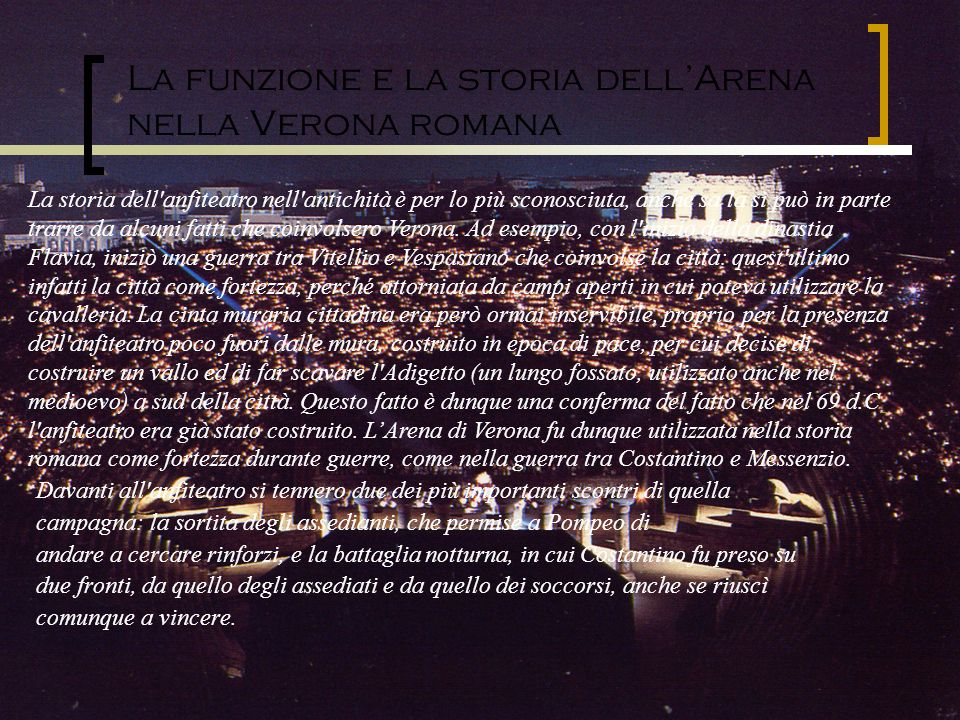 La funzione e la storia dell'Arena nella Verona romana