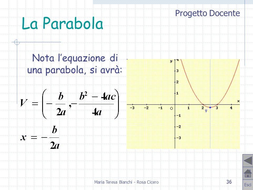 La Parabola Nota l'equazione di una parabola, si avrà: