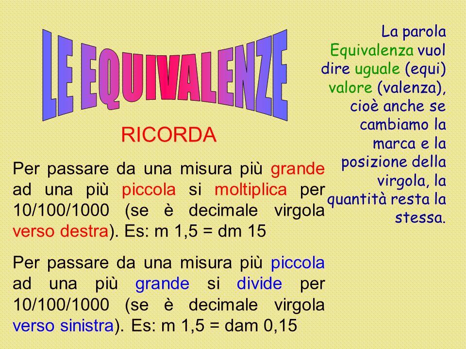 LE EQUIVALENZE RICORDA