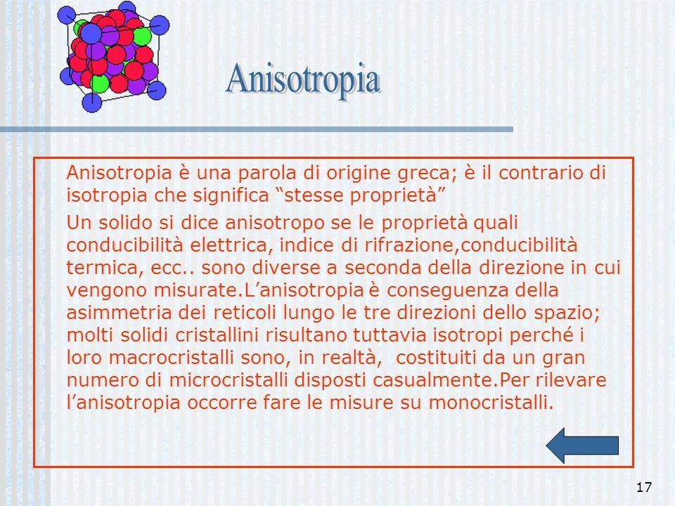 Anisotropia Anisotropia è una parola di origine greca; è il contrario di isotropia che significa stesse proprietà