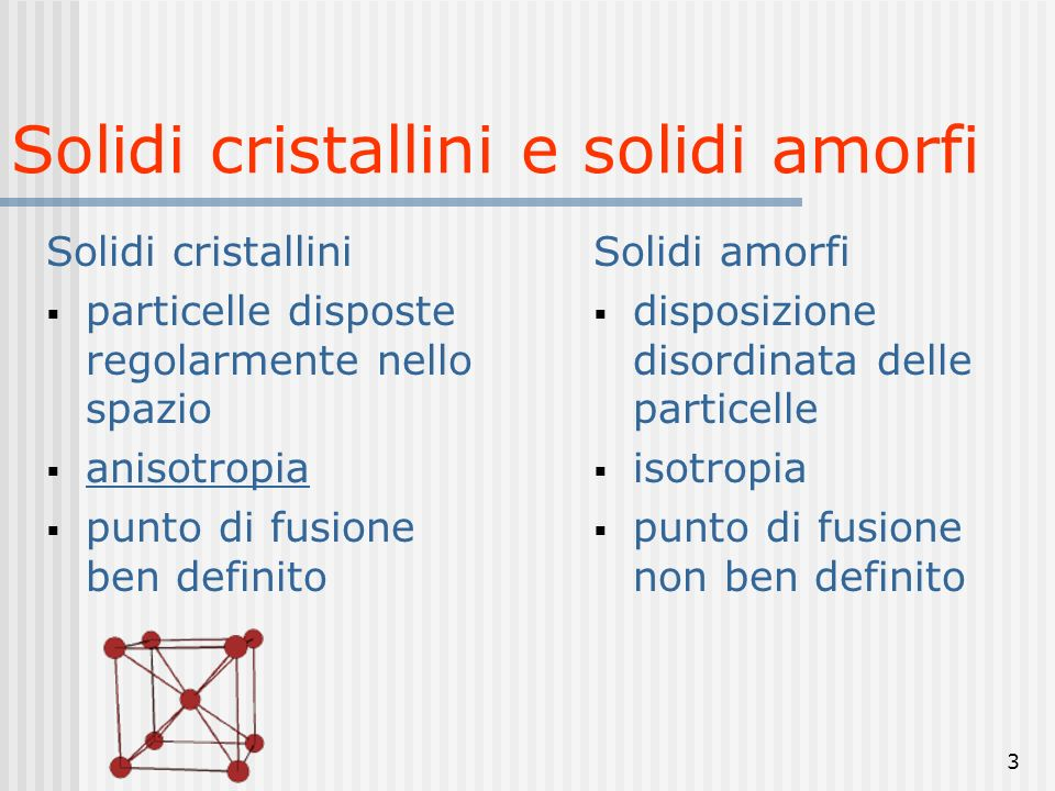 Solidi cristallini e solidi amorfi