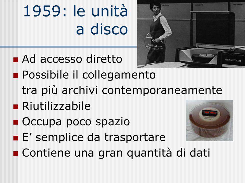 1959: le unità a disco Ad accesso diretto Possibile il collegamento