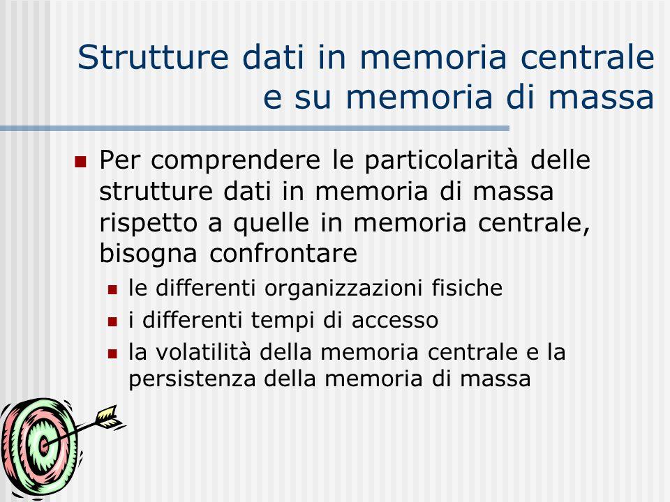 Strutture dati in memoria centrale e su memoria di massa