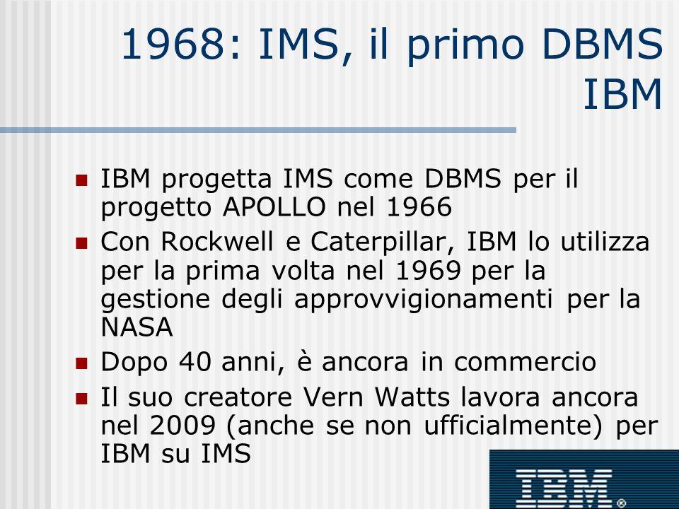 1968: IMS, il primo DBMS IBM IBM progetta IMS come DBMS per il progetto APOLLO nel 1966.