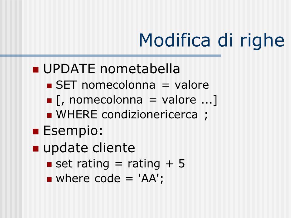 Modifica di righe UPDATE nometabella Esempio: update cliente