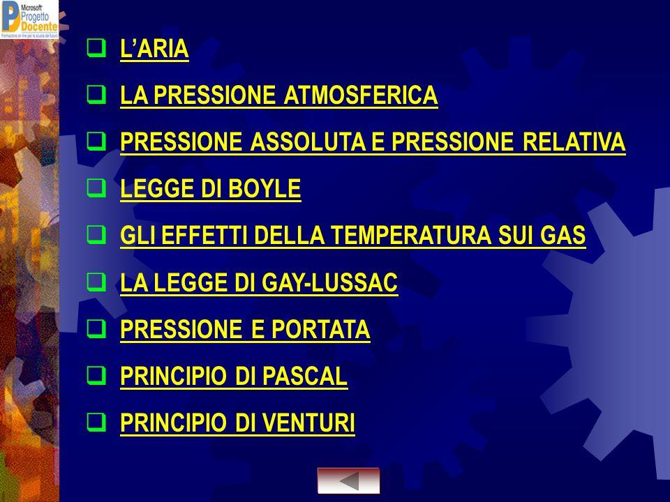 L'ARIA LA PRESSIONE ATMOSFERICA. PRESSIONE ASSOLUTA E PRESSIONE RELATIVA. LEGGE DI BOYLE. GLI EFFETTI DELLA TEMPERATURA SUI GAS.