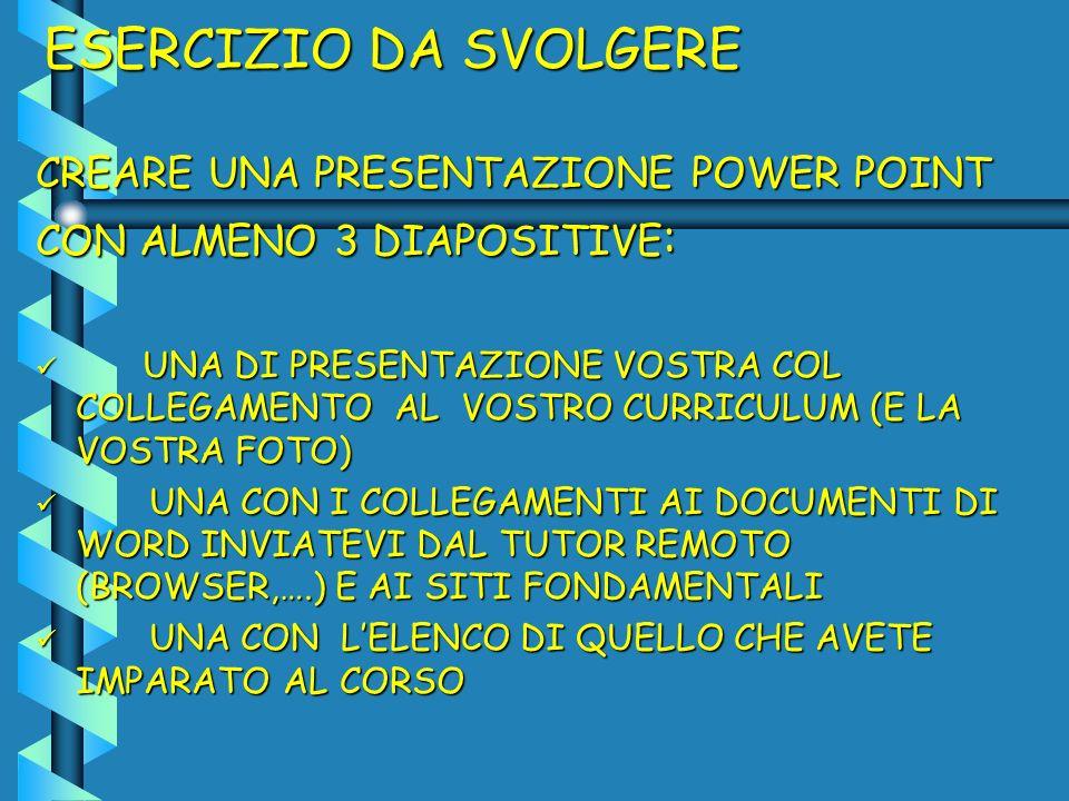 ESERCIZIO DA SVOLGERE CREARE UNA PRESENTAZIONE POWER POINT