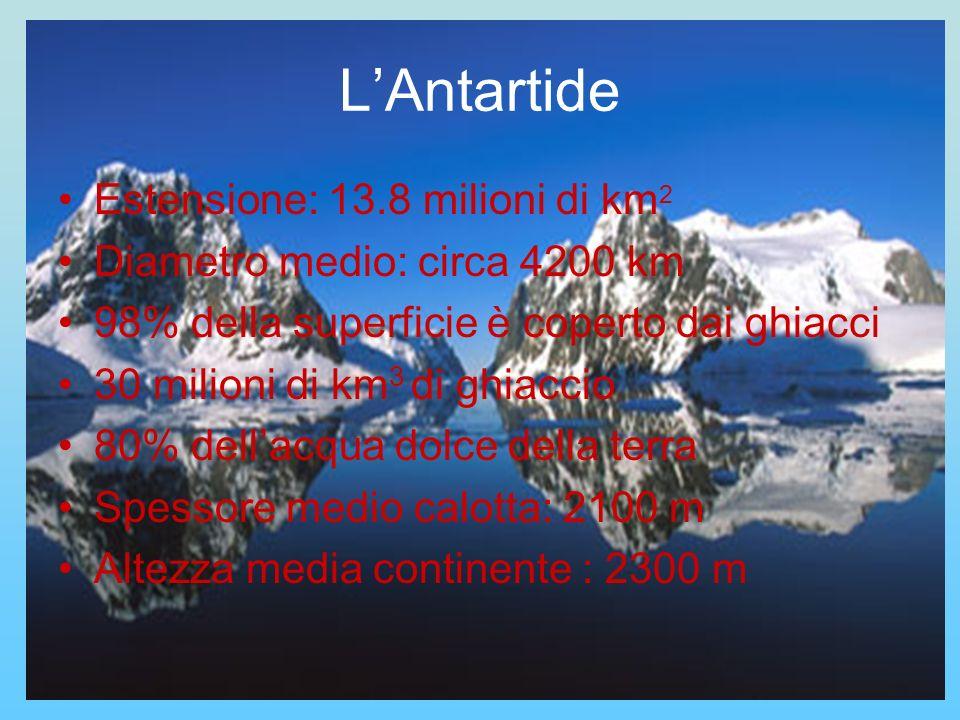 L'Antartide Estensione: 13.8 milioni di km2