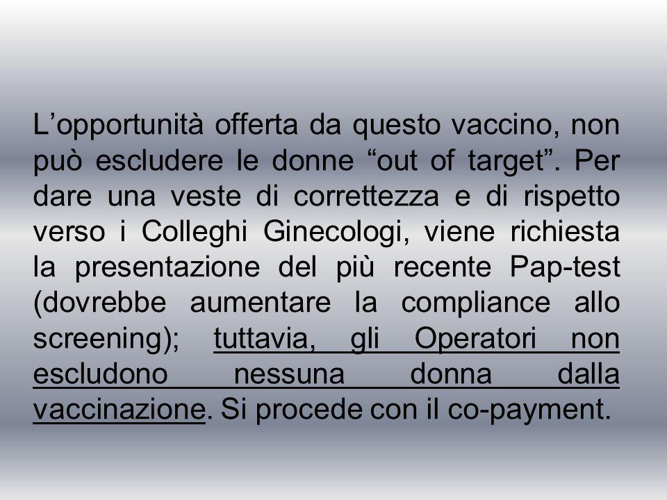 L'opportunità offerta da questo vaccino, non può escludere le donne out of target .